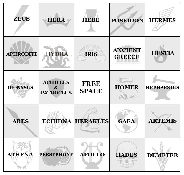 Mythothon Bingo Board